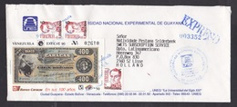 Venezuela: Express Cover To Netherlands 1992, 4 Stamp, Banknote Money, Exfilve, Overprint, Rare Real Use (traces Of Use) - Venezuela