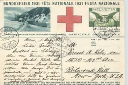 1931  Bundesfeier  Fête Natioanle  Senn Mit Ziegen  Lawinenschaden B. Platta -  Flugpostausgaben 40Rp   Gebraucht 1.8.31 - Stamped Stationery
