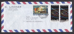 Venezuela: Airmail Cover To Germany, 1978, 3 Stamps, Planetarium Humboldt, Solar System, Rare Real Use (traces Of Use) - Venezuela