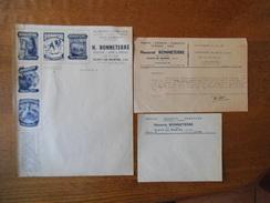 FLAVY LE MARTEL AISNE H. BONNETERRE ALIMENTS COMPLETS POUR ANIMAUX FACTURE VIERGE ENVELOPPE ET COURRIER DU 20/08/1945 - France