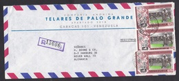 Venezuela: Airmail Cover To Germany, 1975, 3 Stamps, Athletics, Jumping, Sports, Banknote, Money, Coin (traces Of Use) - Venezuela