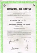 Action Ancienne - BOTSWANA  RST LIMITED - Titre De 1986- N°B0069033 - Afrique