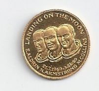 """Pièce OR PUR 1,8G """"landing On The Moon"""" -frappe De La Monnaie De Paris -commémorative -21/07/1969 - Non Classés"""