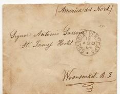 9768 POTENZA GUARDIA PERTICARA X WOONSOCKET USA - ANNO 1904 - FLOREALE CENT 25 - 1900-44 Vittorio Emanuele III