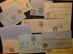España Espagne Cartas Circuladas1865/1870 Lot De 11 Pièces 4 Cuartos Et 50 Millièmes. - 1868-70 Gobierno Provisional