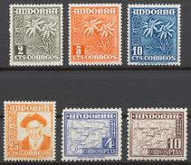 Andorra Spanish 1951-53 Mi# 52-57** DEFINITIVES - Unused Stamps