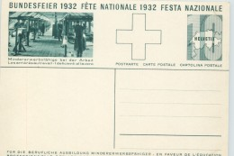 1932 Bundesfeier - Fête Nationale  Bild Mann An Drehbank - Entiers Postaux
