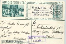 1934  Bundesfeier - Fête Nationale  Bild  Haushaltungsschule ; Schrank In Mitte Stempel 1.8.34 - Ganzsachen