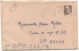 FRANCIA - France - 1946 - 3F - Avec Lettre - Cachet Bureau Frontière P Au Verso - Viaggiata Da Saint-Martial-de-Nabirat - France