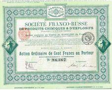 Action Ancienne - Société Franco-Russe De Produits Chimiques Et D' Explosifs - Titre De 1917 - Russie