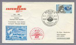 Germany DDR 1981 Brief Cover 50 Jahre Polarfahrt LZ127 Sonderstempel Berlin 8 Graf Zeppelin Interflug - Zeppelins