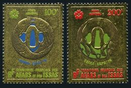 Afars & Issas C58-C59 Gold Foil,MNH.Michel 43-44. OSAKA EXPO-1970:Fish,Horse. - 1970 – Osaka (Japan)