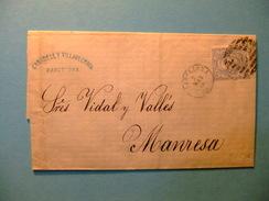 España Espagne Carta Circulada 3/5/1871 Barcelona A Manresa Edifil 107 - 1868-70 Gobierno Provisional