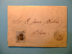 España Espagne Carta Circulada 14 / 5 /1872 Calella A Blanes Edifil 107 - Cartas