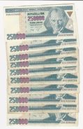 Turkey 10 Banknotes Of 250000 Lira - Coins & Banknotes
