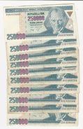 Turkey 10 Banknotes Of 250000 Lira - Alla Rinfusa - Banconote