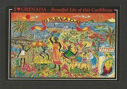 ETHNIC Art POSTCARD MAPS MAP GRENADA - CARIBBEAN  Z1 - Postcards