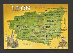 POSTCARD MAPS MAP LEON SPAIN ESPAÑA ESPAGNE LEÓN ASTORGA PONTEFERRADA   Z1 - Postcards