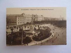 SPAIN ESPAÑA ESPANA ESPAGNE MADRID PLAZA DE COLÓN Y BIBLIOTECA 1910s POSTCARD Z1 - Postcards