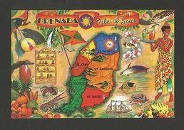 Art POSTCARD MAPS MAP GRENADA ISLE OF SPICE - CARIBBEAN  Z1 - Postcards