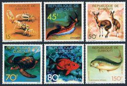 Djibouti 464-469,MNH.Michel 201-203. Marine Life 1977.Crab,Fish,Snail,Turtle, - Fishes