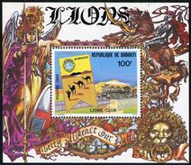 Djibouti 510a Sheet,MNH.Mi 267 Bl.14. Lions Club Of Djibouti,1980.Train,Camels. - Rotary, Lions Club