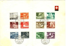 1949  Série Technique Et Paysage Oblitérée 2.8.49 Lendemain Du Premier Jour Courte Coupure En Haut à Gauche. - Schweiz