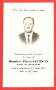 80 SELINCOURT Faire Part Deces Du Maire Pierre SANGNIER Le 9 Juillet 1965 - Décès