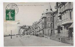 MERS LES BAINS EN 1912 - LES VILLAS DE LA PLAGE ET LA FALAISE - BEAU CACHET - CPA VOYAGEE - Mers Les Bains