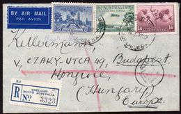 Australia To Hungary Registered Airmail Cover 1937 Adelaide-Melbourne-Aghnai(Greece)-Budapest - Covers & Documents
