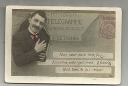 Cp, Poste , Télégramme , 1906 , Voyagée , Homme - Postal Services