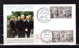 """FRANCE / ALLEMAGNE 1988 : Enveloppe 1er Jour """" GENERAL DE GAULLE / ADENAUER """". N° YT 2501 / ALL 1183. Parfait état. FDC - De Gaulle (Général)"""