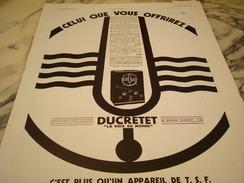 ANCIENNE PUBLICITE APPAREIL TSF DUCRETET 1932 - Musique & Instruments