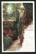 Lithographie Eisenach, Drachenschlucht Und Hohe Sonne - Eisenach