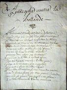 MANUSCRIT HISTORIQUE PRISE DE MAASTRICT 1672 APOSTROPHE CONTRE LA HOLLANDE REDIGEE EN VERS PAR UN CITOYEN FRANCAIS - Historical Documents