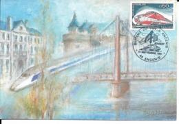 ANCENIS. Bapteme De La RAME T.G.V. Ville D'Ancenis.Carte Postale Philatélique. 14/09/91. - Ancenis
