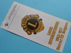 LIONS INTERNATIONAL 1952 - 1977 District 112 Belgium ( Nr. 5 ) / Afstempeling BRUSSEL 26-3-1977 ( Folder ) ! - Autres