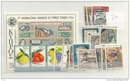 1974 MNH Cyprus, Year Complete, Postfris - Zypern (Republik)