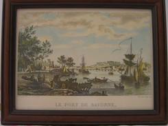 """Petit Tableau  Avec Cadre   """"  Le Port De Bayonne  """"  Au Siècle  Dernier  : Dimension   27,5 Cm  X  22 Cm - Engravings"""