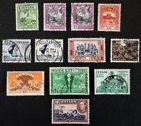 1950-1956 Stupa SG414,Orchid SG415,Lion Roch SG416,+ 418,425,426,431,436,437 + 1947 SG395 - Sri Lanka (Ceylon) (1948-...)