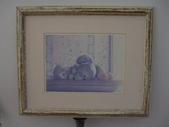 Tableau  Avec Cadre Bois  ( Sans Glace )  Signé  L . David   - Représentant  Un Compotier De Fruits  ( 51 Cm  X 42 Cm ) - Engravings