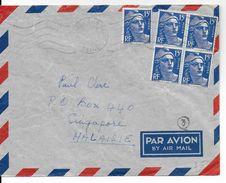 1952 - GANDON - LETTRE Par AVION De NEUILLY => SINGAPORE (MALAISIE) - DESTINATION RARE - Postmark Collection (Covers)