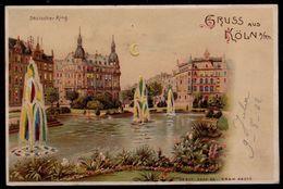 SELTEN ! - 1902 -  ALTE LITHO ANSICHTKARTE IN RELIEF - KÖLN - Deutscher Ring - WUNDERBAR !! - Koeln