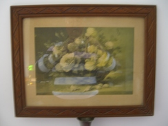 Tableau Avec Cadre Bois  Très Ancien  (  L'ensemble  De 1940/1950 Environ  )  Bouquet De Fleurs   ( 46,5 Cm  X 36,5 Cm ) - Engravings