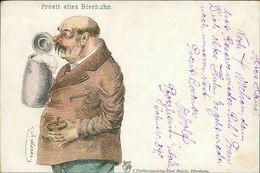 AK Prosit Altes Bierhuhn, Bier, Bière, Beer, O 1907, Eckknick Unten Rechts (25242) - Humor