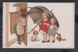 S27 /   Kinder Kunstkarte Regenschirm / Walter Hauck Dresden - Disegni Infantili