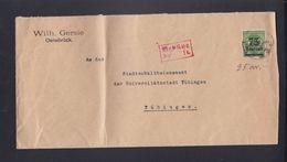 Dt. Reich Brief Osnabrück Nach Tübingen MiF Mit Gebühr Bezahlt - Briefe U. Dokumente