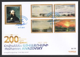 Armenien/Armenie/Armenia 2017, 200th Ann. Of Birth Ivan (Hovhannes) Aivazovsky (1817-1900),marine Painter - FDC - Armenië