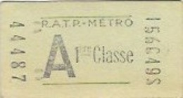 """R.A.T.P """" Titre De Transport  METROPOLITAIN  1er Classe """" - Metropolitana"""