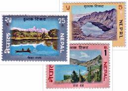 MINT LAKE SERIES 3 STAMP SET NEPAL 1970 MINT/MNH - Geologie